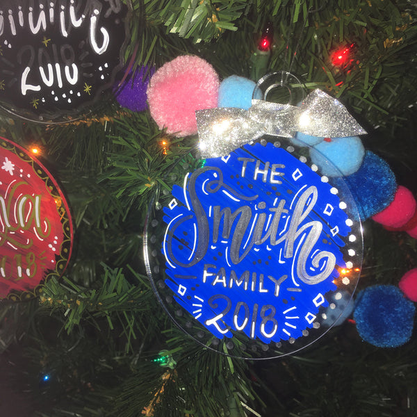 Customized Hand Lettered and Hand Painted Acrylic Ornaments