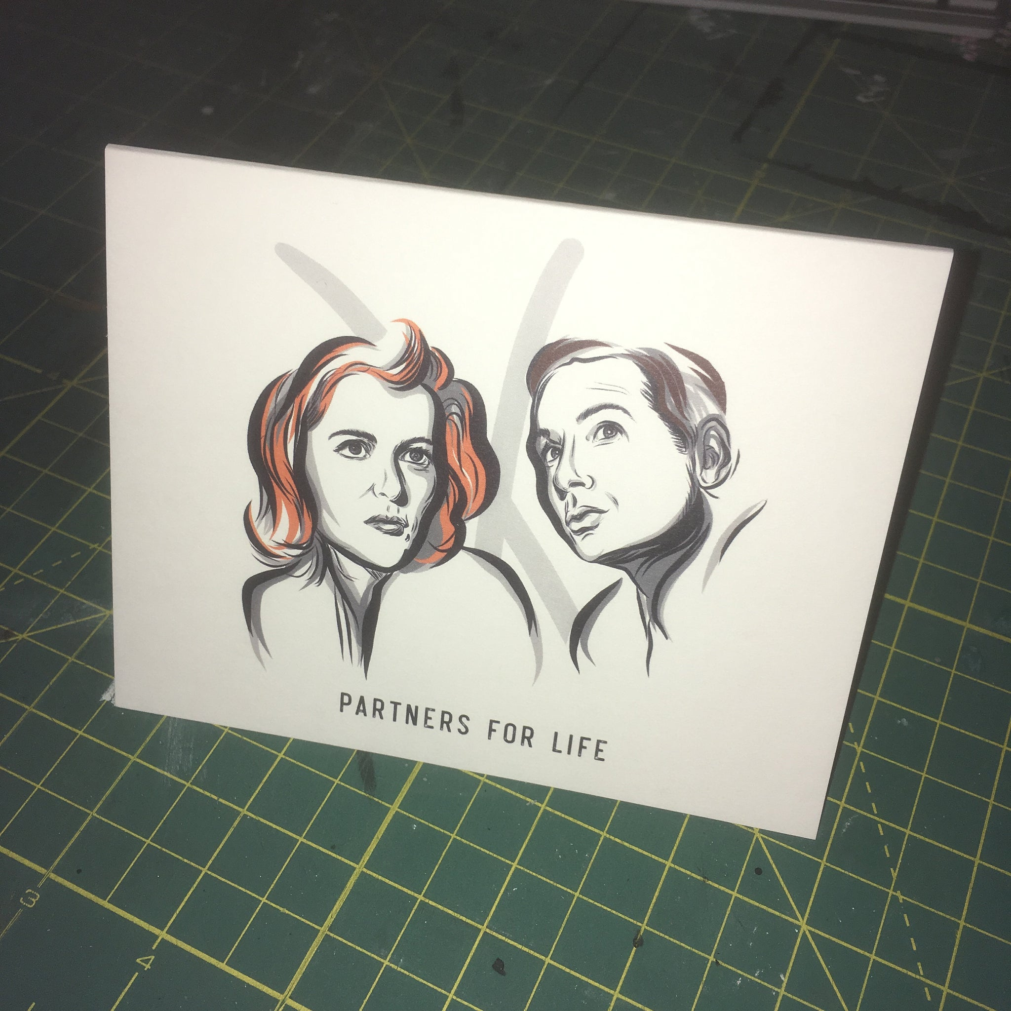 X-Files Greeting Card - Hand Drawn - Mulder & Scully - Partners for Life