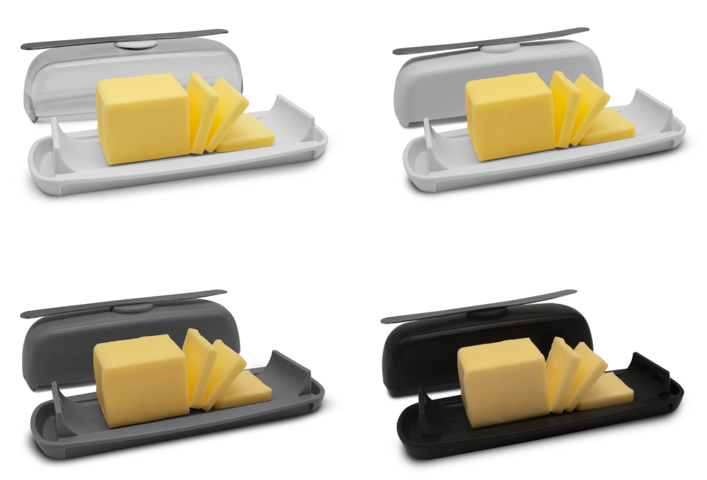 Butter Hub butter dish comes in grey, clear, white and black