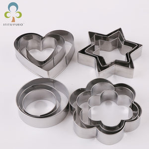 12pcs/set Stainless Steel Cookie Biscuit DIY Mold Star Heart Round Flower Shape Cutter Baking Mould  Tools GYH