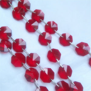 2M/Lot Crystal garland strand 16mm octagon bead chain IN RED COLOR for Wedding & Christmas party event Decoration