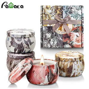 4PCS/Set Freesia Lavender Rosemary French Vanilla Candles Tin Can Fragrance Handmade Scented Candle Gift Wedding Home Decoration