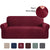 High Stretch Sofa Cover 1 Piece Machine Washable Spandex Jacquard Checked Pattern Fabric (Sofa, Burgundy)