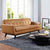 Modway Engage Bonded Leather Sofa with Wood Legs, Multiple Colors