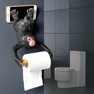 Monkey Statue Roll Paper Holder Wall Mount