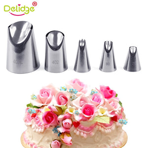 Delidge 5pcs/set Petal Stainless Steel Icing Piping Nozzle Set Metal Cream Tips Cake Cream Decorating Pastry Tools