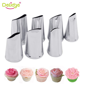 Delidge 7pcs/set Cake Decorating Tips Set Cream Icing Piping Sugarcraft Rose Nozzle Pastry Tools Fondant Decorating Tools