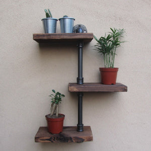 Industrial Rustic Urban Iron Pipe Wall Shelf 3 Tiers Wooden Board Shelving Home Restaurant Bar Shop Decor Storage
