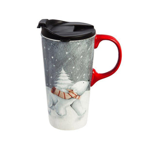 Juhl Polar Bear and Cubs Travel Mug