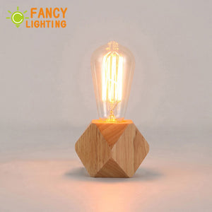 Modern table lamp E27 Wooden desk lamp EU-Plug Wooden Base for home/bedroom/living room decor Diamond bedside lamp tafellamp