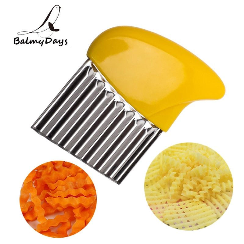 Kitchen Blade Potato Vegetable Crinkle Wavy Cutter French Fry Slicer Big Size