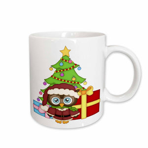 3dRose Cute Christmas Owl With A Christmas Tree And Presents Illustration, Ceramic Mug, 11-ounce