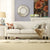 Weston Home Tribeca Cream White Linen Sofa with Espresso Finish