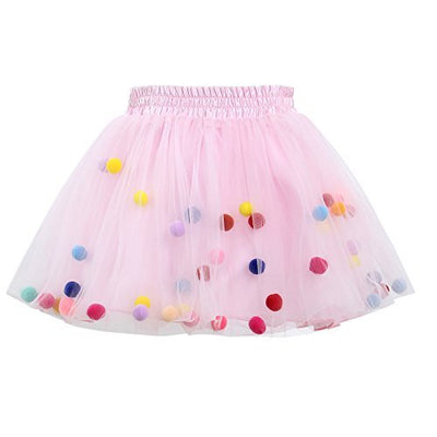 Tutu Skirt GoFriend Baby Girls Tulle Princess Dress 4-layer Fluffy Ballet Skirt with Little Pom Pom Puff Ball (M, Light Pink)