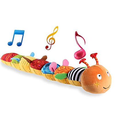 LIGHTDESIRE Baby Toys Musical Caterpillar, Infant Toys Crinkle Rattle Soft with Ring Bell Toddler Plush Toy for Preschool