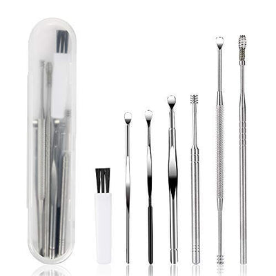 7 Pcs Ear Pick, BetyBedy Ear Cleansing Tool Set, Ear Curette Earwax Removal Kit with a Small Cleaning Brush and Storage Box, Silver