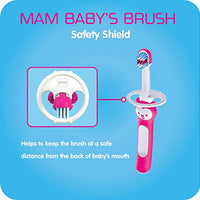 MAM Baby Toothbrush, Baby's Brush, Girl, 6+ Months, 2-Count, Pink