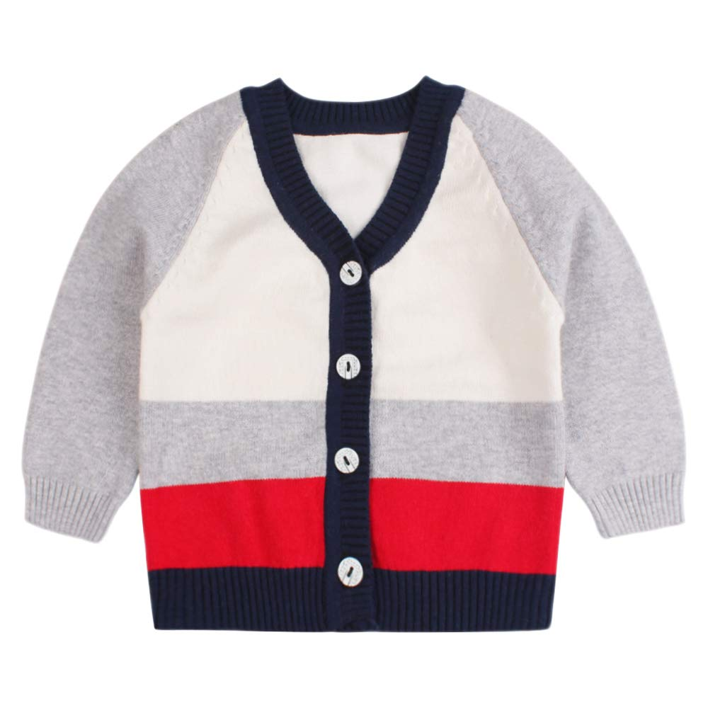 Casual Winter Boys Cardigan Long Sleeve V-Neck Striped Sweater for Girls Infant Toddler Boys Cloths