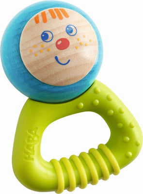 HABA Musical Character Bella - Jingling Rattle, Clutching Toy and Teether with Friendly Wooden Face and Plastic Teething Handle (Made in Germany)