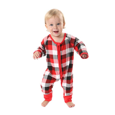 BOBORA Merry Christmas Holiday Family Matching Pajamas Reindeer Classic Plaid Pajama PJ Sets