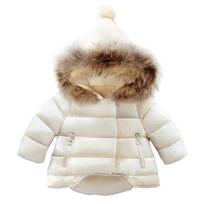 Baby Girls Boys Hooded Snowsuit Winter Warm Fur Collar Hooded Down Windproof Jacket Outerwear