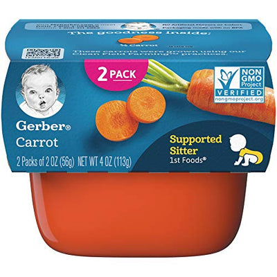 Gerber 1st Foods Carrots, 2.5 Ounce Tubs, 2 Count (Pack of 8)