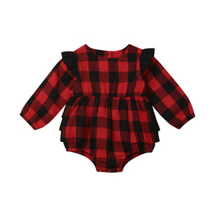 Newborn Baby Girl Christmas Buffalo Plaid Ruffle Romper Bodysuit Fall Outfit Clothes