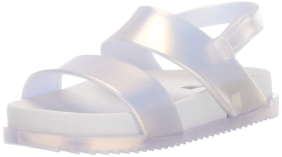 Mini Melissa Girls' Mini Cosmic Sandal Slipper, White Pearl, 10 Medium US Toddler