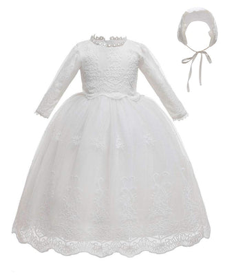 Baby Girls Lace Baptism Dress Toddler White Christening Gown Sets 0-24 Months