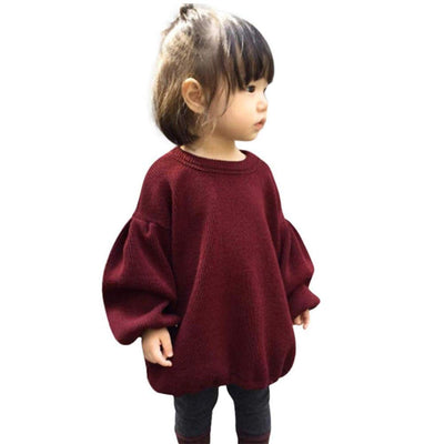 Toddle Baby Girl Clothes Lantern Balloon Sleeve Loose Pullover Sweater Knit Tops Outfits