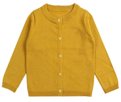 GSVIBK Girls Cotton Cardigan Long Sleeve Kids Button Sweaters Crew Neck Cardigans Sweater