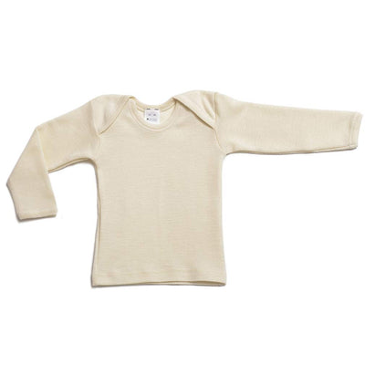 Hocosa Organic Wool-Silk Baby Shirt, Long Sleeves, Envelope Neckline.