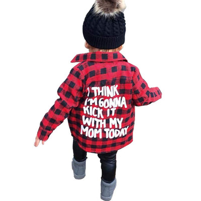 Toddler Long Sleeve Shirt Baby Boy Girl Plaid Top for Toddler Spring Winter Coat for Kid