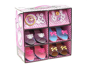 MegaToyBrand Princess Dress Up & Play Shoe and Jewelry Boutique (Includes 4 Pairs of Shoes + Multiple Fashion Accessories) - This dressup princess jewelry set is the best gift for girls age 2 - 10