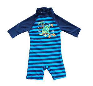 Bonverano(TM) Kids UPF 50+ Sun Protection S/S One Piece Zip Sun Suit With Sun Hat (3-6 months, Colorful fish)