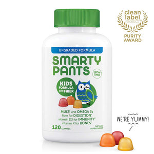 SmartyPants Kids Formula & Fiber Daily Gummy Vitamins: Gluten Free, Multivitamin & Omega 3 Fish Oil (DHA/EPA), Fiber, Methyl B12, Vitamin D3, Vitamin B6, 120 Count (30 Day Supply) - Packaging May Vary