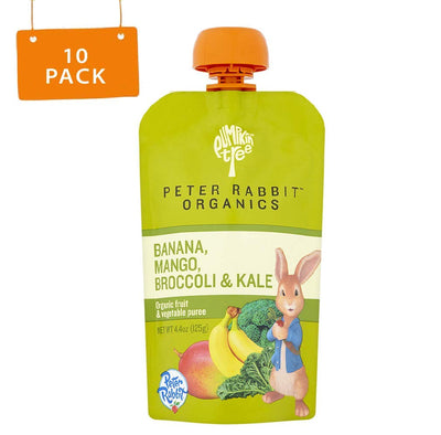 Peter Rabbit Organics, Banana, Mango, and Kale, 4 Ounce Squeeze Pouch (Pack of 10)