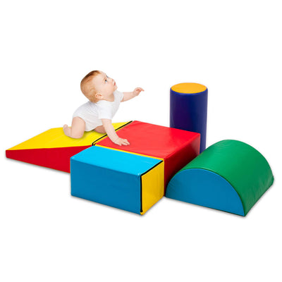 Matladin Indoor Safe Soft Foam Climber 5-Piece Sets, Beginner Toddler Climber with Slide Ramp Indoor Climbing Toys for Toddlers Kids and Children