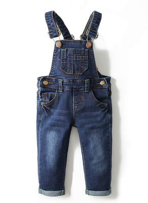 Kidscool Baby & Toddler Adjustable Blue Washed Slim Jeans Overalls
