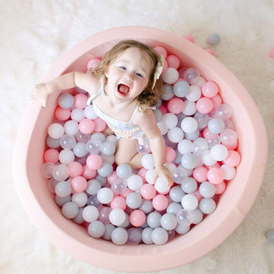 Wonder Space Deluxe Kids Round Ball Pit, Premium Handmade Kiddie Balls Pool, Soft Indoor Outdoor Nursery Baby Playpen, Ideal Gift Play Toy for Children Toddler Infant Boys & Girls (Light Pink)