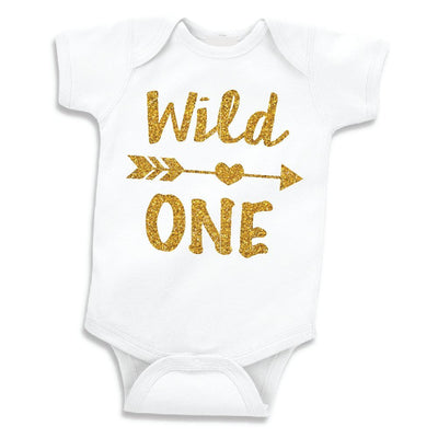 Baby Girls First Birthday Outfit Wild One Bodysuit (12-18 Months)