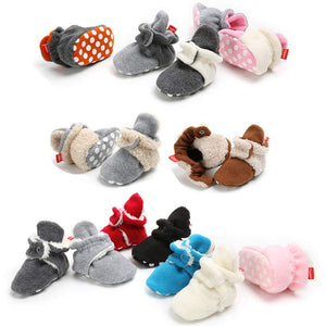 PanGa Winter Cotton Booties Socks for Unisex Baby Soft Sole Non-Slip Fleece Cozy Socks Infant Toddler First Walkers Crib Slippers Shoes