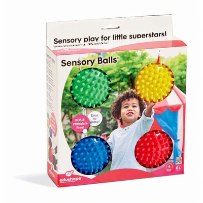 Edushape Sensory Balls, 4 Inch, Solid Colors, 4 Ball Set