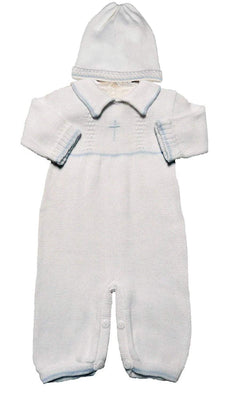 Boy's White Cotton Knit Christening Baptism Longall w/White, Blue, or Gold Cross and Hat