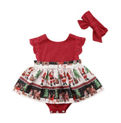 VISGOGO 2 pcs Newborn Baby Girl Christmas Romper Jumpsuit Tutu Dress Headband Outfits Clothes 0-24M