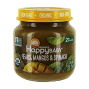HAPPY BABY Organic Stage 2 Pear Mngo Spin Baby Food, 4 OZ