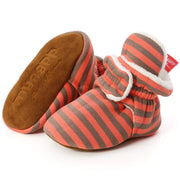 Sawimlgy Baby Boys Girls Cozy Fleece Booties Stripe Socks Boots Stay On Slippers Shoe Newborn Infant Toddler Non Slip Grippers House Shoe