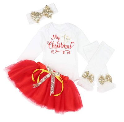 KANGKANG Baby Girl First Christmas Tutu Dress Outfit My 1st Christmas Romper + Leg Warmers + Headband