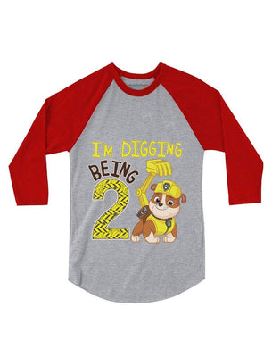 Paw Patrol Rubble Digging 2nd Birthday 3/4 Sleeve Baseball Jersey Toddler Shirt