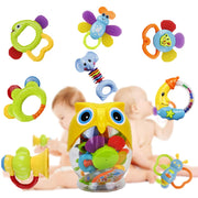 Teether Rattle Set Baby Toy - Happytime 8pcs Latest Rattle & Teether Toys in Owl Bottle for Newborn 3 6 9 12 18 Month